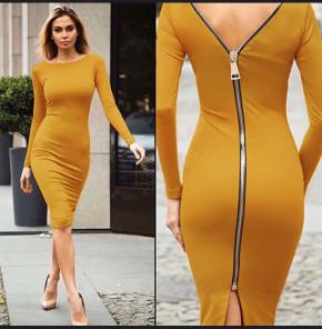 Γυναικείο φόρεμα με φερμουάρ 3824 κίτρινο