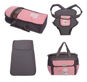 Σετ από 4 τμχ.- πορτ μπεμπέ, τσάντα, μάρσιπος και στρώμα 04106 γκρι/ροζ