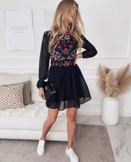 Γυναικείο φόρεμα με τούλι 5822 μαύρο