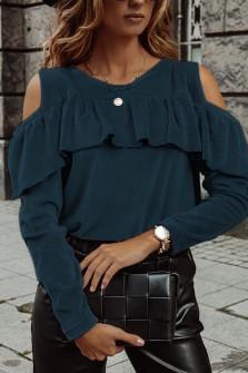 Γυναικεία μπλούζα βελουτέ 5385 μπλε