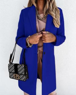 Γυναικείο κομψό παλτό με φόδρα 5332 μπλε