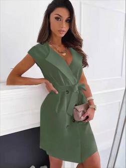 Γυναικείο φόρεμα με κουμπιά και ζώνη 5720 χακί