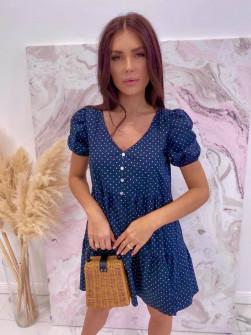 Γυναικείο φόρεμα πουά 21226 σκούρο μπλε
