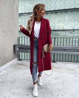 Γυναικείο εφαρμοστό παλτό με φόδρα 5972  μπορντό