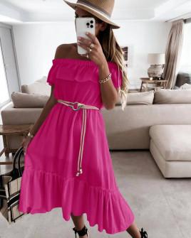 Γυναικείο φόρεμα με ζώνη 5695 φούξια