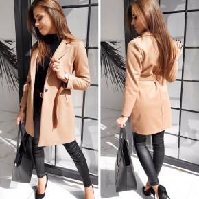 Γυναικείο παλτό με ζώνη και φόδρα 20501 καμηλό