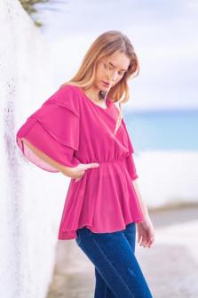 Γυναικεία μπλούζα με εντυπωσιακό μανίκι 5071 φούξια
