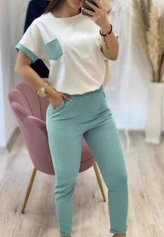 Γυναικείο σετ κοντομάνικο και παντελόνι 21102 μέντα