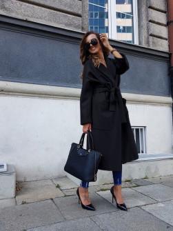 Γυναικείο παλτό με φόδρα 5325 μαύρο