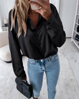 Γυναικείο σατέν πουκάμισο 6073 μαύρο