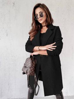 Γυναικείο μπουκλέ παλτό 20055 μαύρο