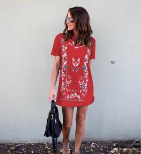 Γυναικείο φόρεμα με σχέδια 5064 κόκκινο