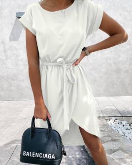 Γυναικείο φόρεμα κρουαζέ 30688 άσπρο