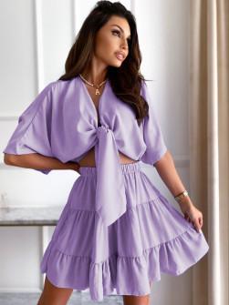 Γυναικείο σετ πουκάμισο και φούστα 14824 λιλά
