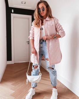 Γυναικείο μπουφάν με μήκος πάνω από το γόνατο 82099 ροζ