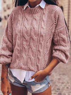 Γυναικείο εντυπωσιακό πουλόβερ 8053 ροζ