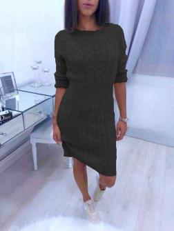 Γυναικείο πλεκτό φόρεμα 1028 μαύρο