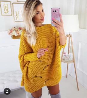 Γυναικείο πλεκτό μπλουζοφόρεμα 7115 κίτρινο
