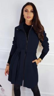 Γυναικείο παλτό με φερμουάρ και ζώνη 3829 σκούρο μπλε
