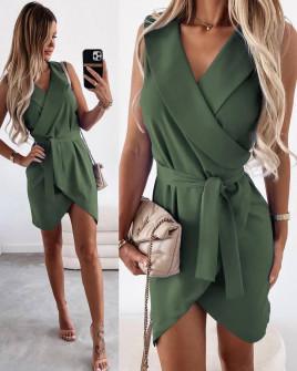 Γυναικείο φόρεμα κρουαζέ 5860 χακί