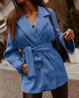 Γυναικείο παλτό από μαλακό ύφασμα με φόδρα 5363 γαλάζιο