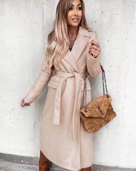 Γυναικείο μακρύ παλτό με ζώνη και φόδρα 6056 μπεζ