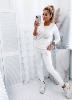 Γυναικείο βελουτέ σέτ 4767 άσπρο