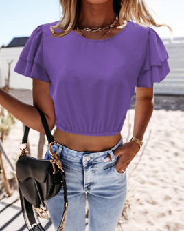 Γυναικεία κοντή μπλούζα 21782 μωβ