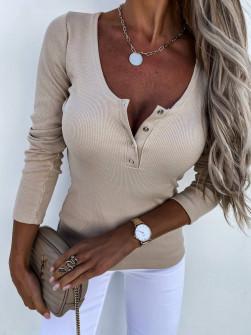 Γυναικεία μπλούζα με κουμπάκια 4848 μπεζ