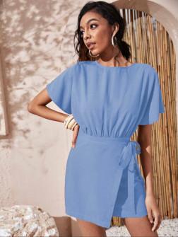 Γυναικείο φόρεμα κρουαζέ 9255 γαλάζιο