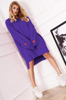 Γυναικείο χαλαρό μπλουζοφόρεμα 19740 μωβ