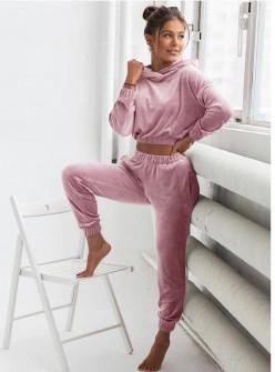 Σετ φόρμα και φούτερ με κουκούλα 5466  ροζ