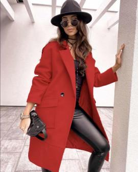 Παλτό με τσέπες 20885 κόκκινο