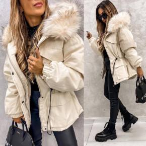 Γυναικείο χοντρό μπουφάν με χνουδωτή κουκούλα PF01 μπεζ