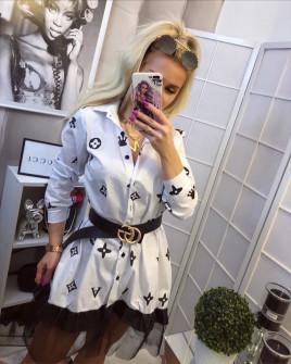 Γυναικείο μπλουζοφόρεμα με δαντέλα 3235 άσπρο