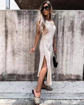 Γυναικείο φόρεμα σατέν 5716 μπεζ