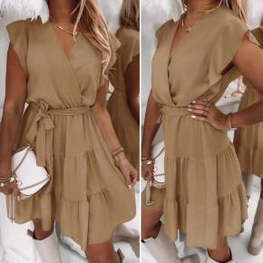 Γυναικείο φόρεμα κρουαζέ 5708 καμηλό