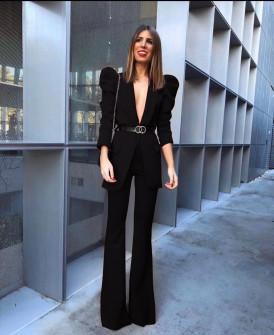 Γυναικείο σετ με σακάκι και παντελόνι 9808 μαύρο