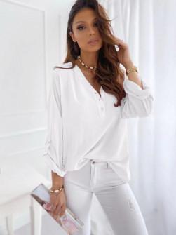 Γυναικείο χαλαρό πουκάμισο 5019 άσπρο
