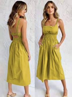 Γυναικείο φόρεμα μίντι 9262 κίτρινο