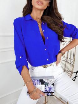 Γυναικείο μονόχρωμο πουκάμισο 9363 μπλε