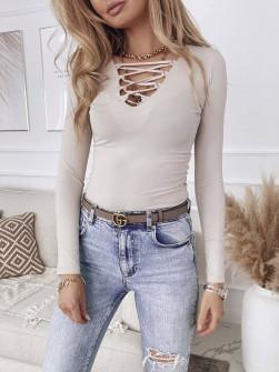 Γυναικεία μπλούζα με κορδόνια 4702 μπεζ