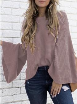 Γυναικείο πουλόβερ με φαρδύ μανίκι 2532 ροζ