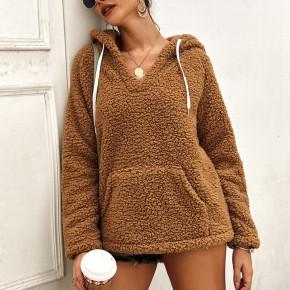 Γυναικείο γούνινο φούτερ 2587 καμηλό