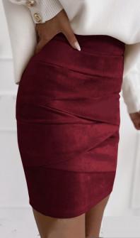 Γυναικεία σουέτ φούστα 5367 μπορντό