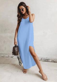 Γυναικείο μακρύ χαλαρό φόρεμα 8177 γαλάζιο