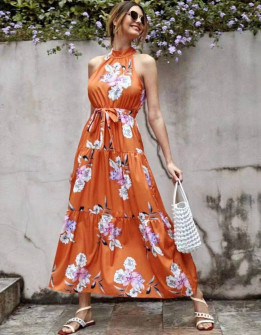 Γυναικείο φόρεμα με φλοράλ ντεσέν 635706