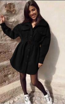 Γυναικείο παλτό βελουτέ 5322 μαύρο
