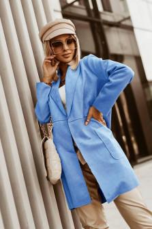 Γυναικείο βελούδινο μακρύ σακάκι 6014 γαλάζιο