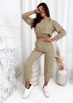 Γυναικείο σετ φούτερ και φόρμα 3582 μπεζ